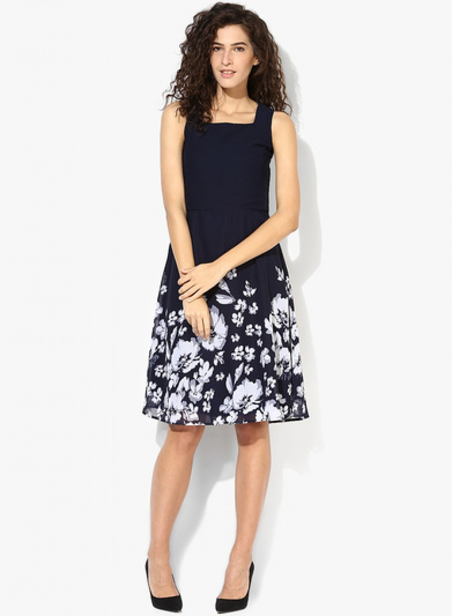 Buy MIAMINX Navy Blue Coloured Printed Skater Dress Online