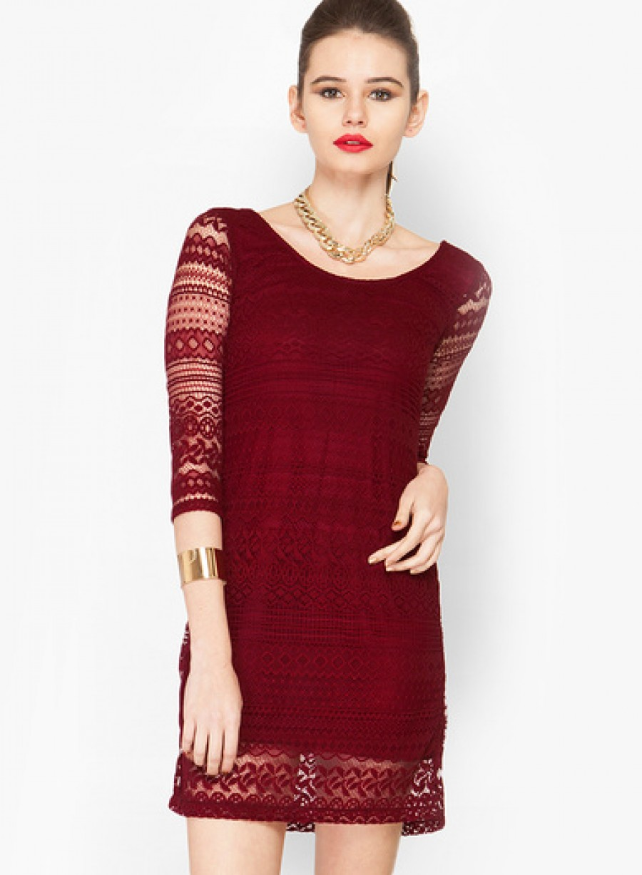 Buy FaballeyRed Colored Embroidered Bodycon Dress Online