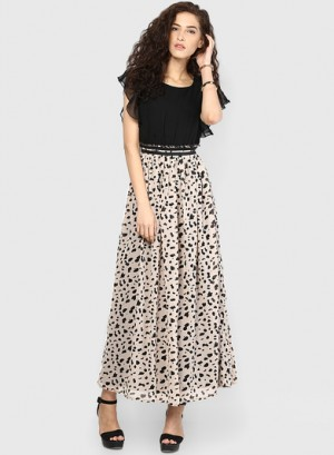 Buy MIAMINX Black Colored Printed Maxi Dress Online