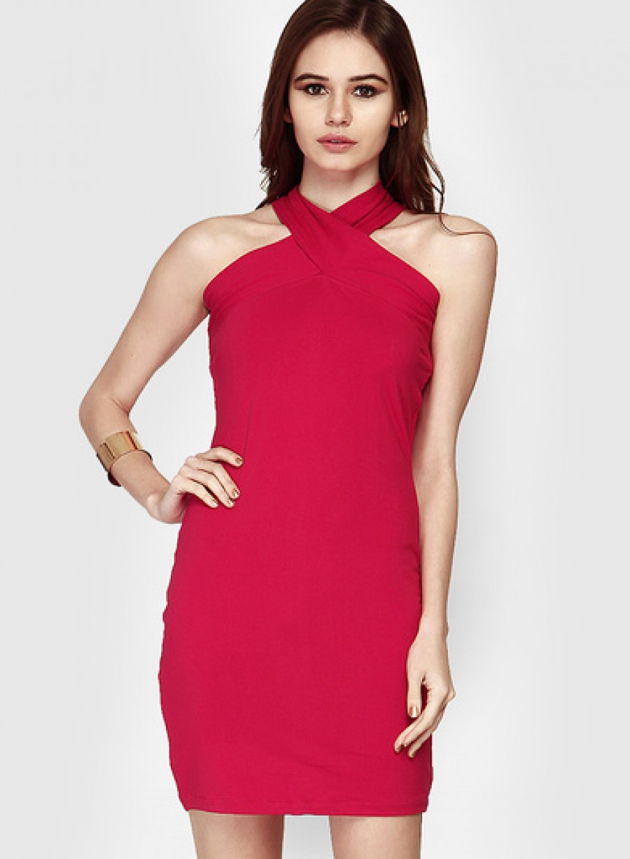 Buy Faballey Pink Colored Solid Bodycon Dress Online