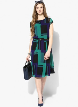 Buy MIAMINX Multicoloured Printed Skater Dress With Belt Online