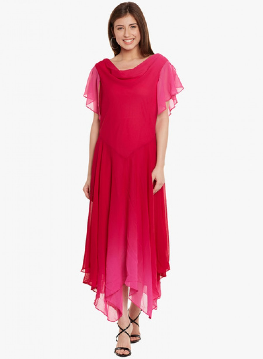 Buy Ladybug Pink Coloured Solid Asymmetric Dress Online