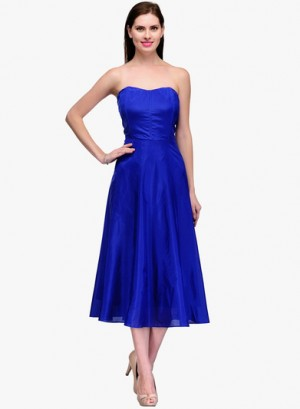 Buy Neroxo Blue Coloured Solid Off Shoulder Dresses Online