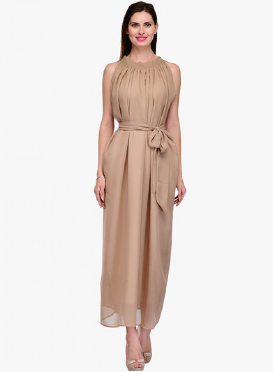Buy Neroxo Brown Coloured Solid Maxi Dress Online