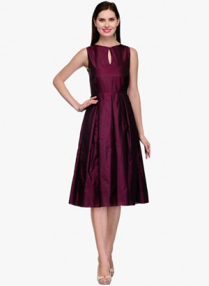 Buy Neroxo Purple Coloured Solid Skater Dress Online