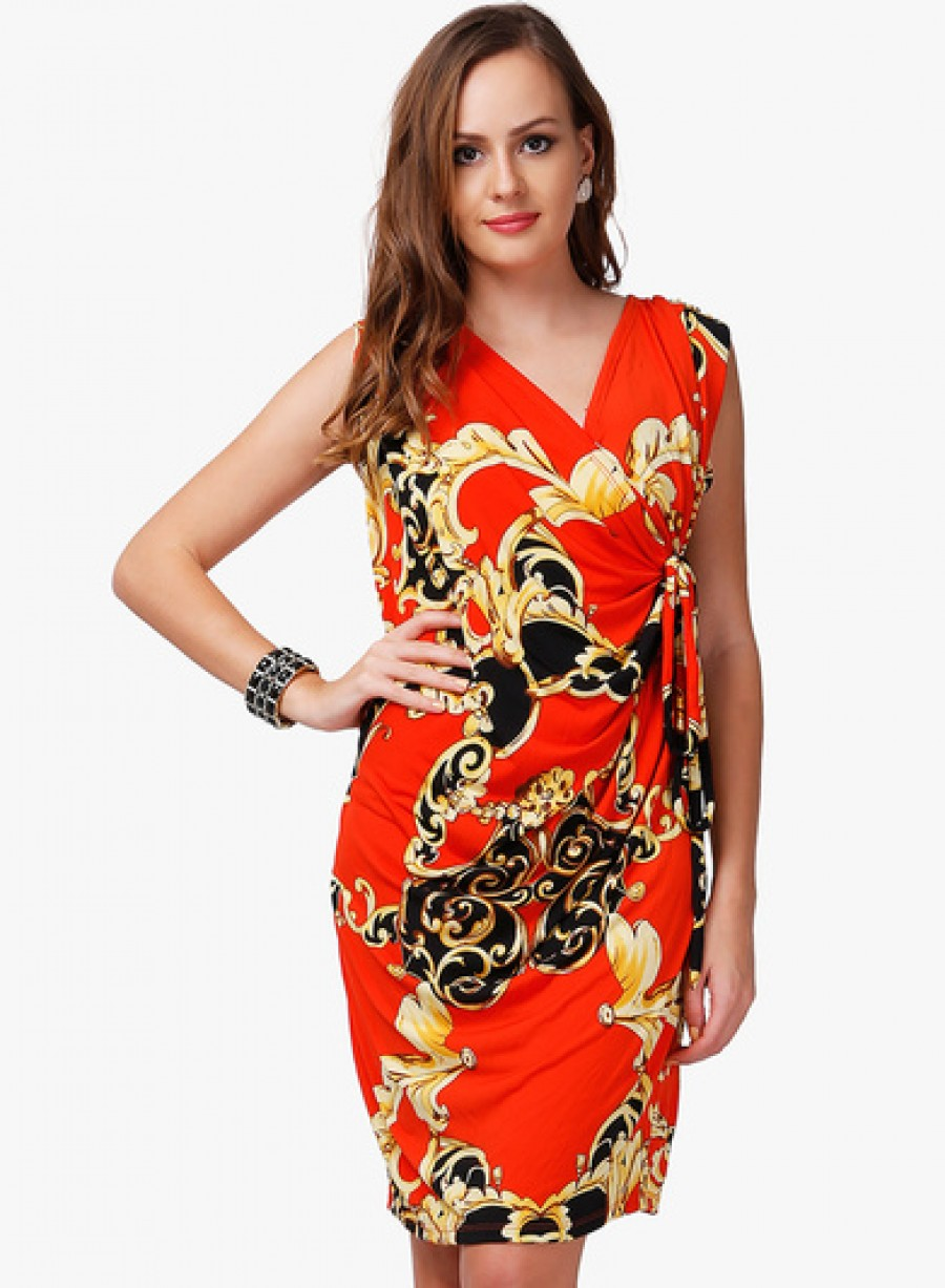 Buy Dressvilla Orange Printed Shift Dress Online
