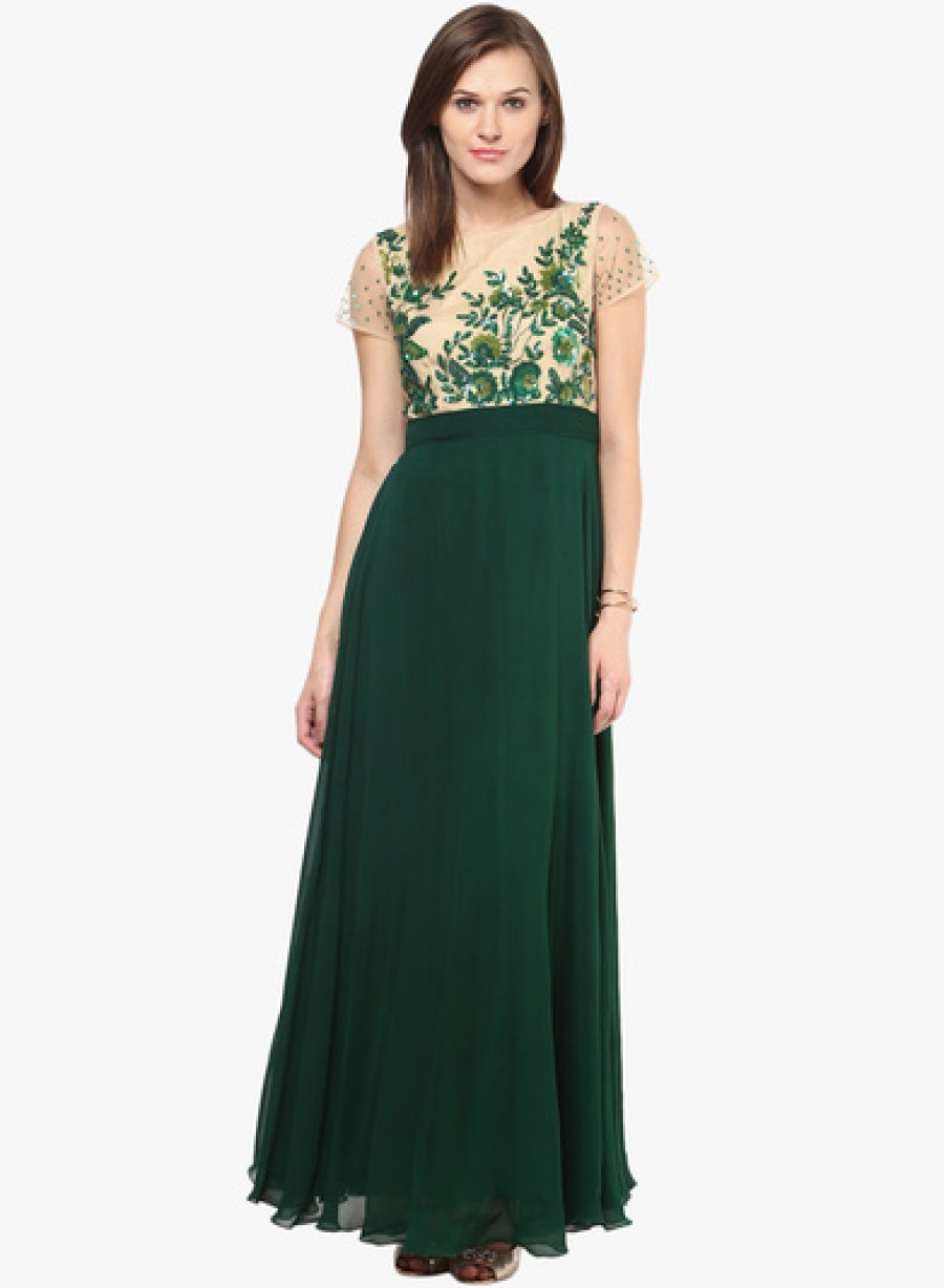 Buy Saanvi Green Embroidered Maxi Dress Online