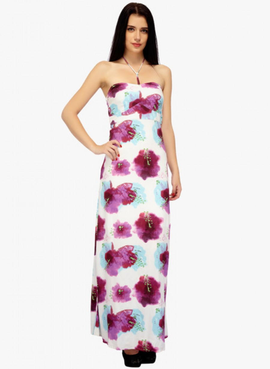 Buy Golmaal Off White Coloured Printed Maxi Dress Online