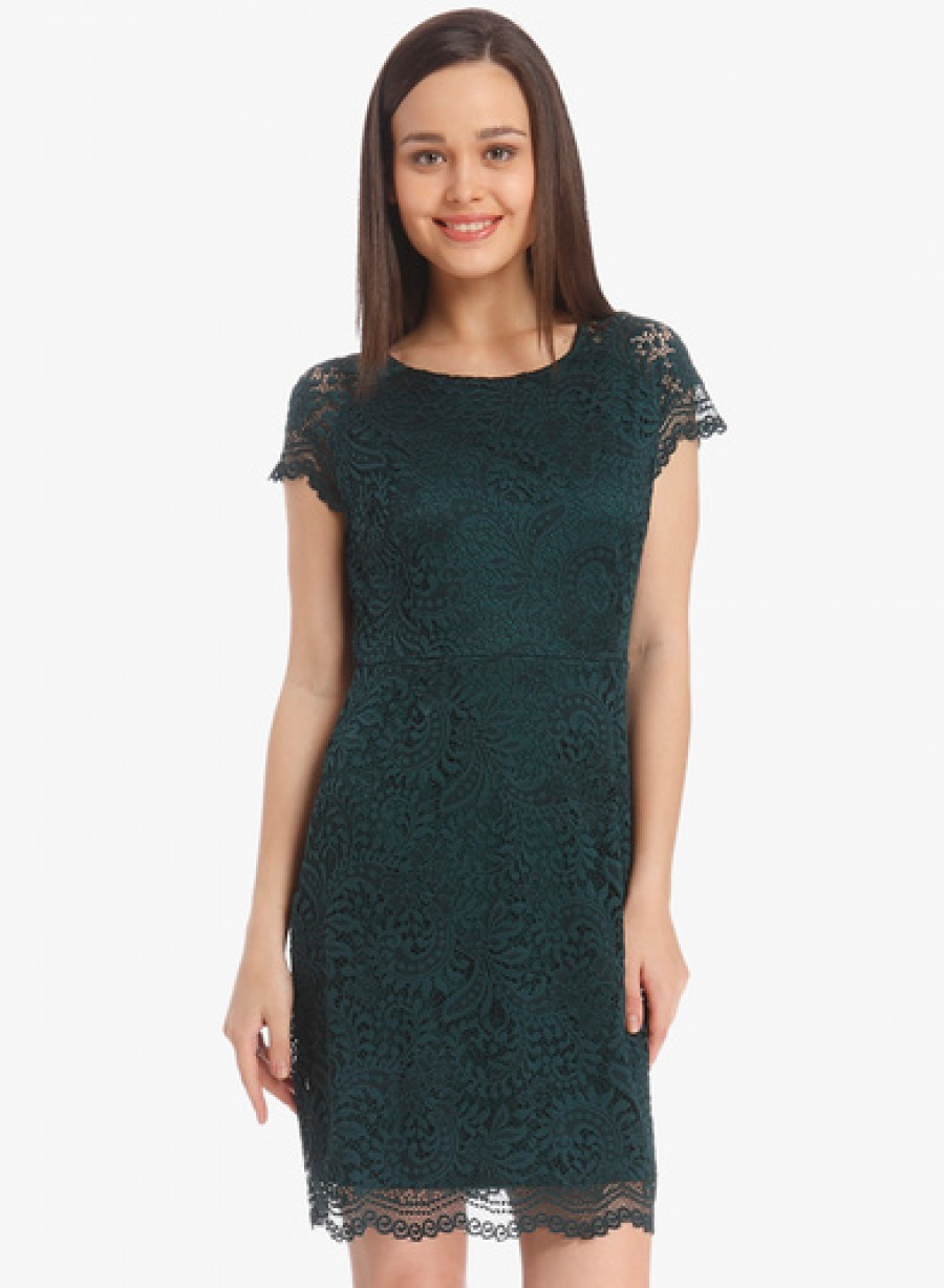 Buy Only Green Coloured Solid Shift Dress Online