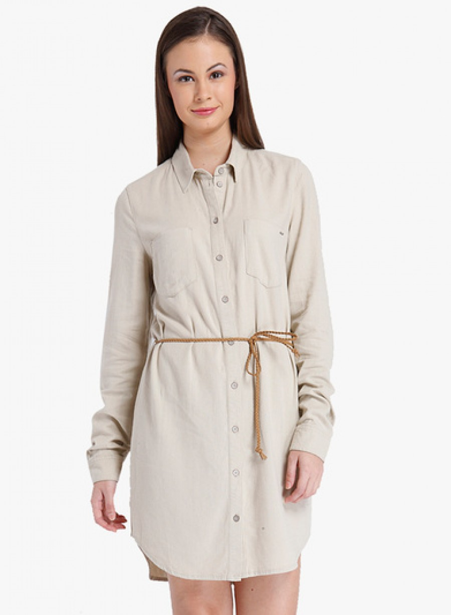 Buy Only Beige Coloured Solid Shift Dress With Belt Online