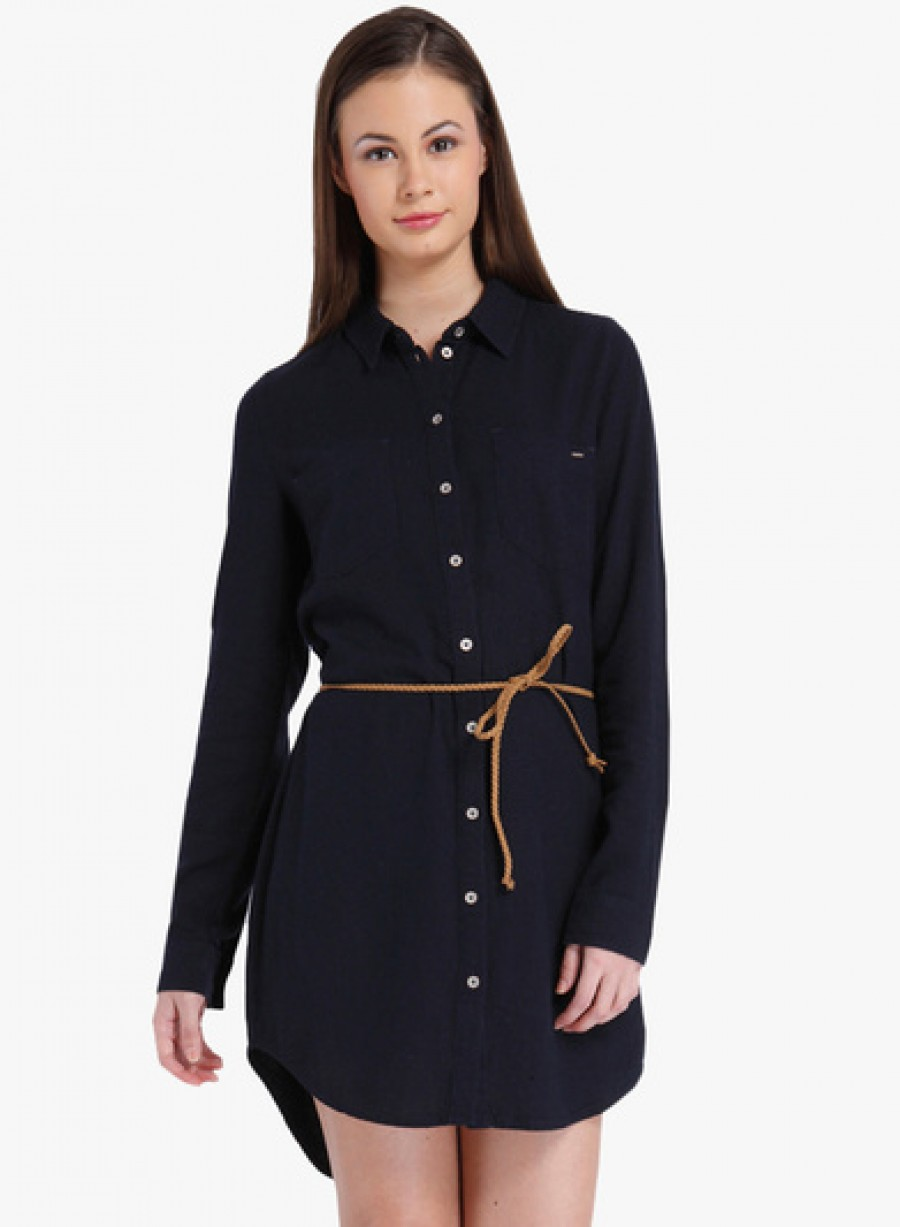 Buy Only Blue Coloured Solid Shift Dress With Belt Online