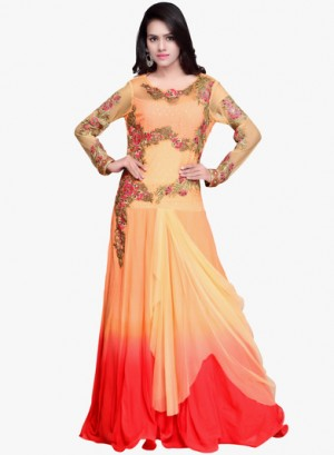 Buy Khwaab Peach Embroidered Gown Online
