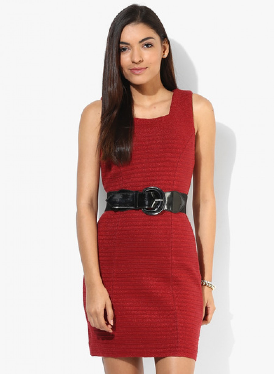 Buy MADAME Red Colored Solid Shift Dress Online