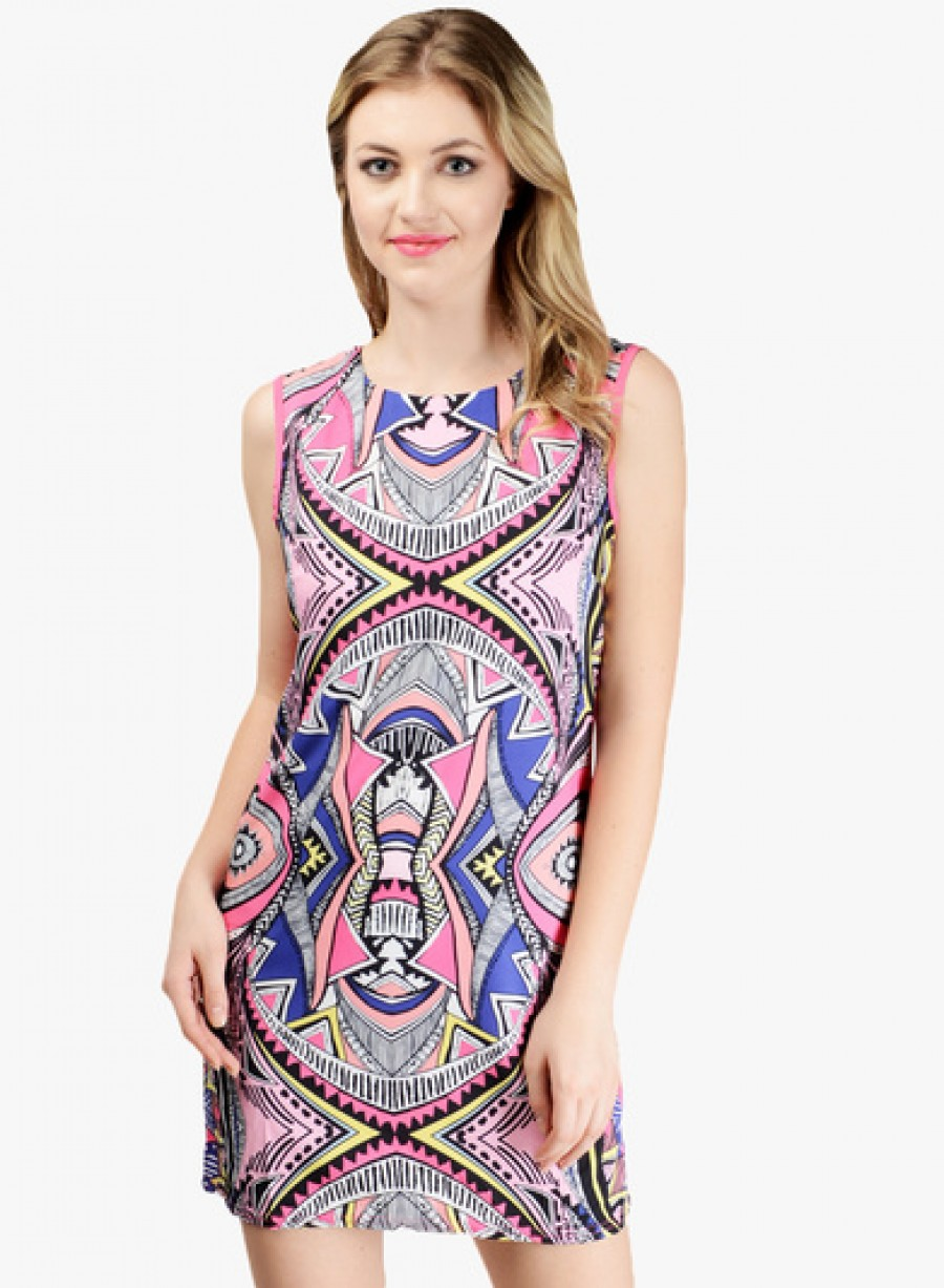 Buy Pink Lace Multicoloured Printed Shift Dress Online