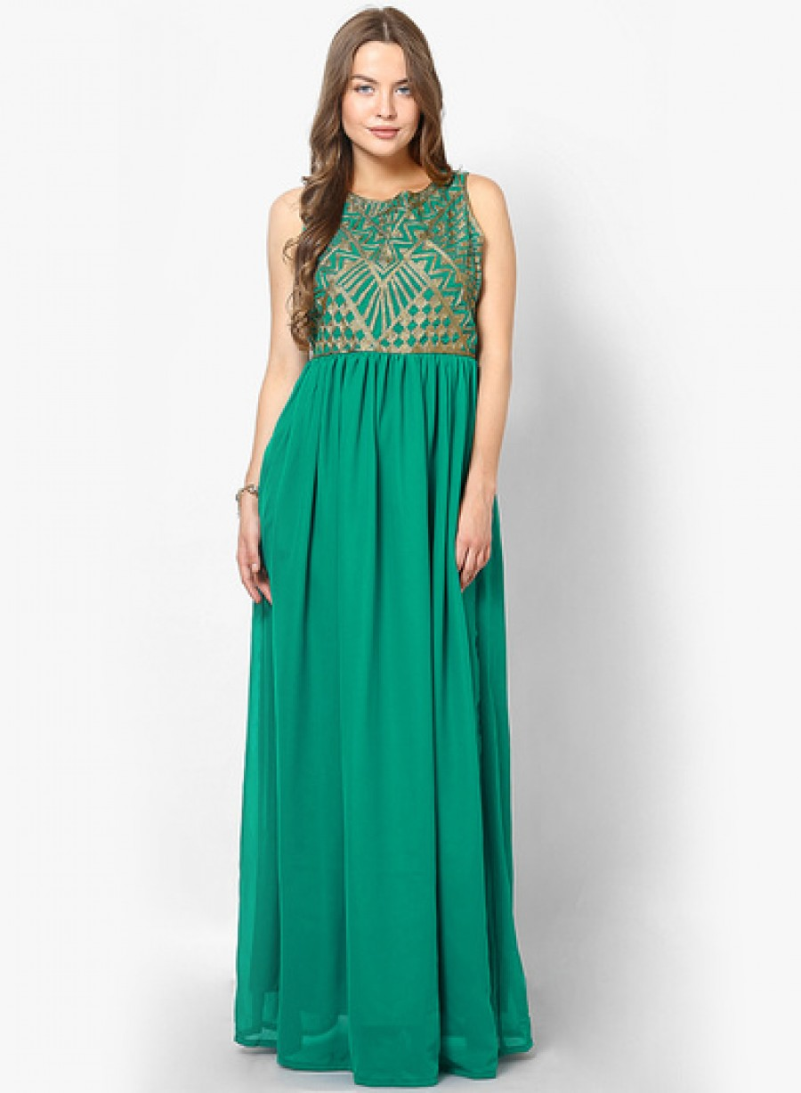 Buy Hola Green Colored Printed Maxi Dress Online