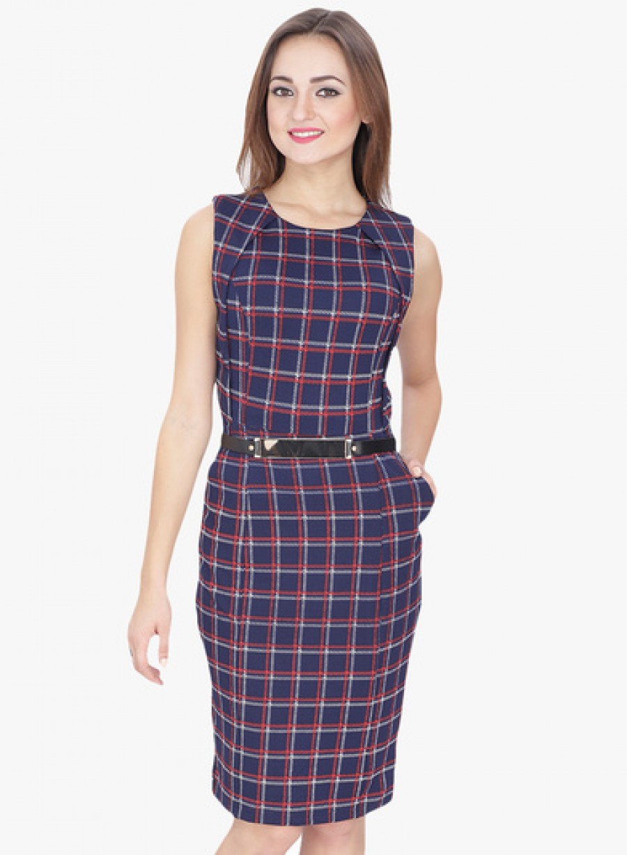 Buy SVT ADA Collection Navy Blue Checked Bodycon Dress Online