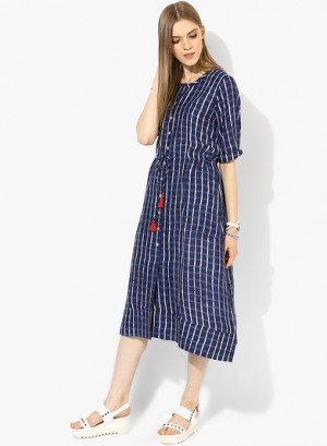 Buy Global Desi Navy Blue Coloured Checked Maxi Dress Online