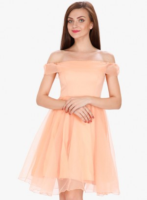 Buy SVT ADA Collection Peach Coloured Solid Off Shoulder Dress Online