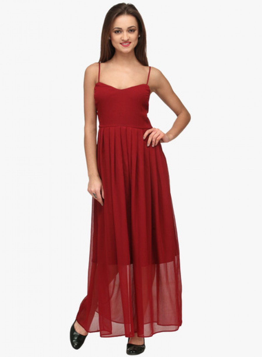 Buy Neroxo Maroon Coloured Solid Maxi Dress Online