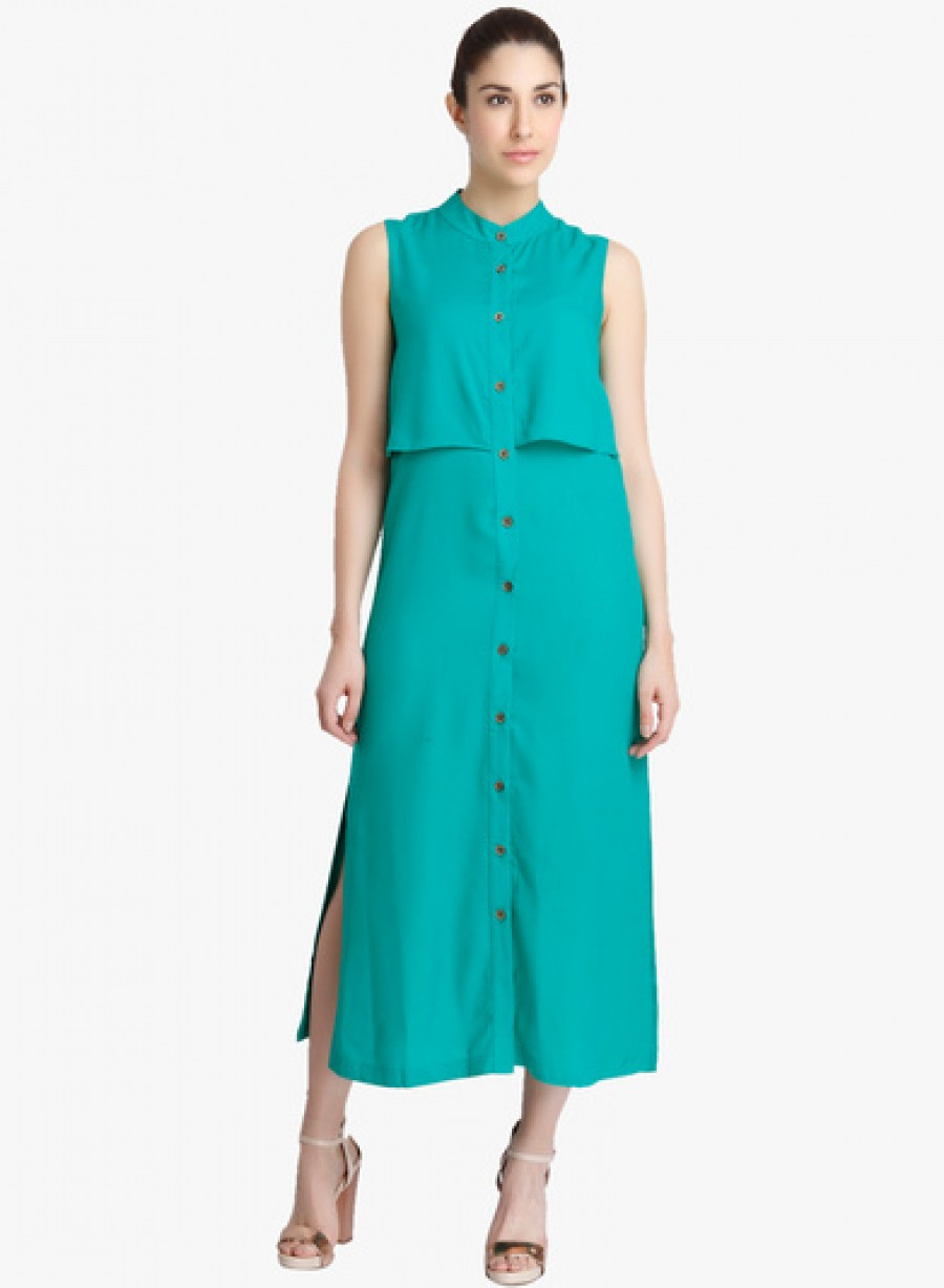 Buy Vero Moda Green Coloured Solid Maxi Dress Online