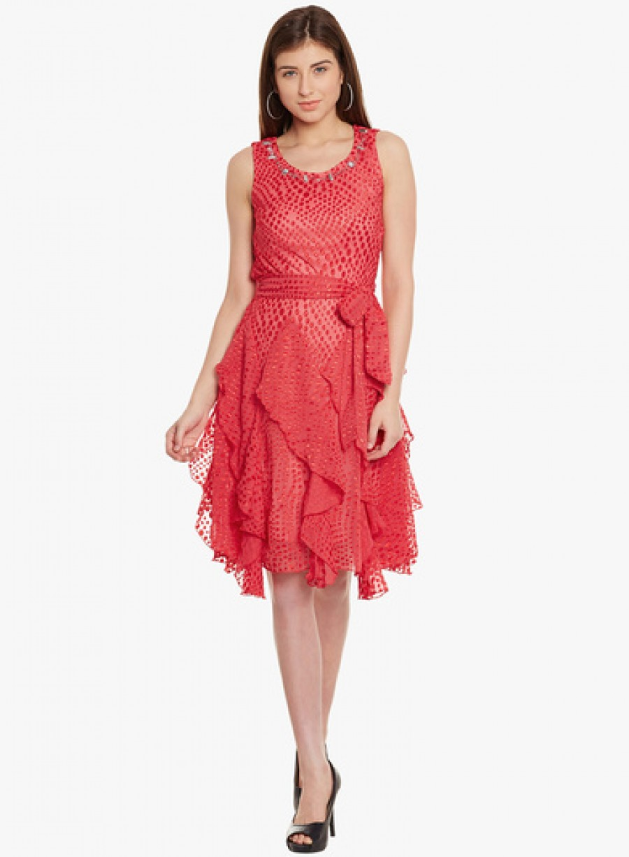 Buy Ladybug Red Coloured Printed Skater Dress Online
