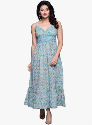 Buy Fabindia Green Printed Cotton Maxi Dress Online