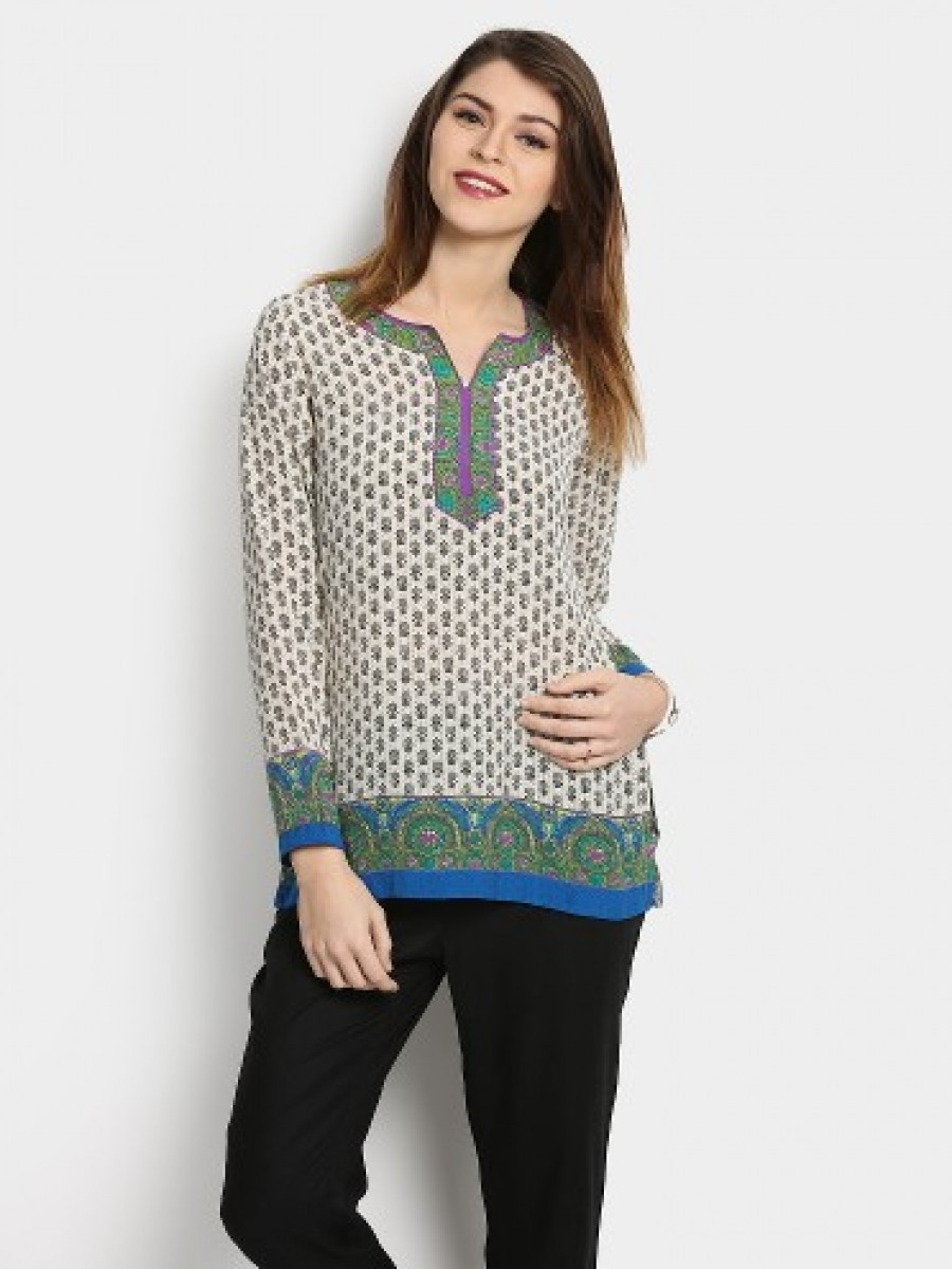 Buy Biba Women Beige Printed Regular Fit Kurti Online