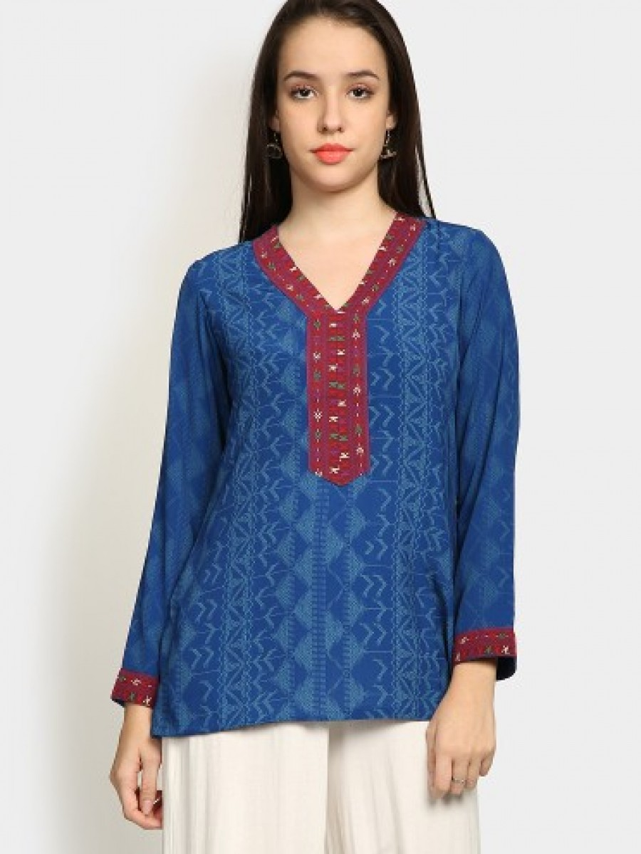 Buy Biba Women Blue Printed Regular Fit Kurti Online