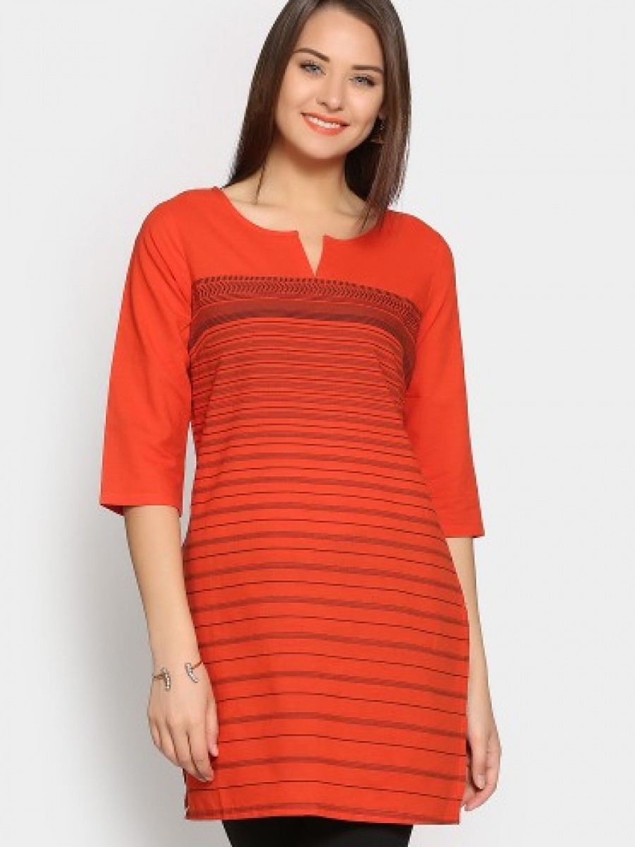 Buy Aurelia Women Orange Striped Regular Fit Kurti Online