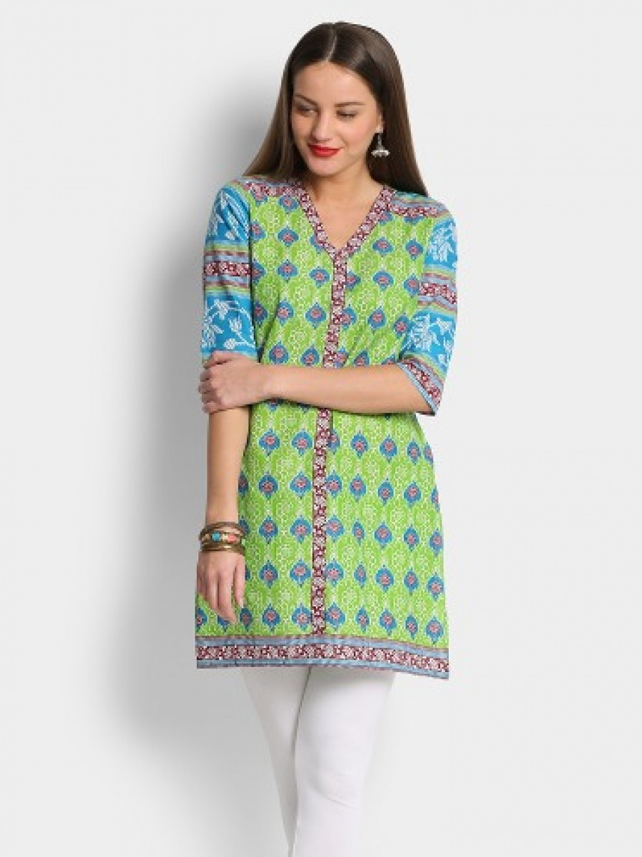 Buy Aurelia Women Green & Blue Printed Regular Fit Kurti Online