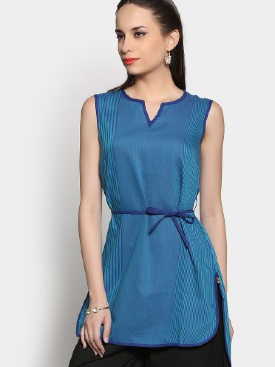 Buy Aurelia Women Blue Regular Fit Kurti Online