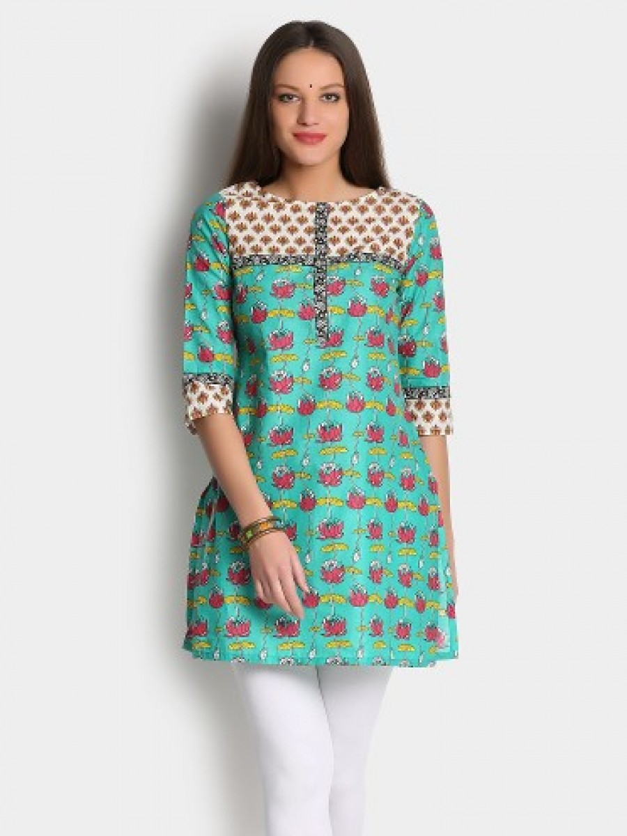 Buy Aurelia Women Green Printed Regular Fit Kurti Online