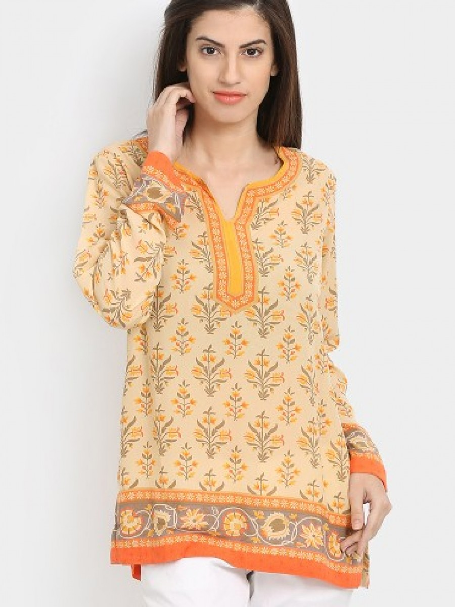 Buy Biba Women Crepe Beige & Yellow Printed Regular Fit Kurti Online