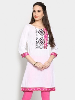 Buy Rain and Rainbow Women White Regular Fit Kurti Online
