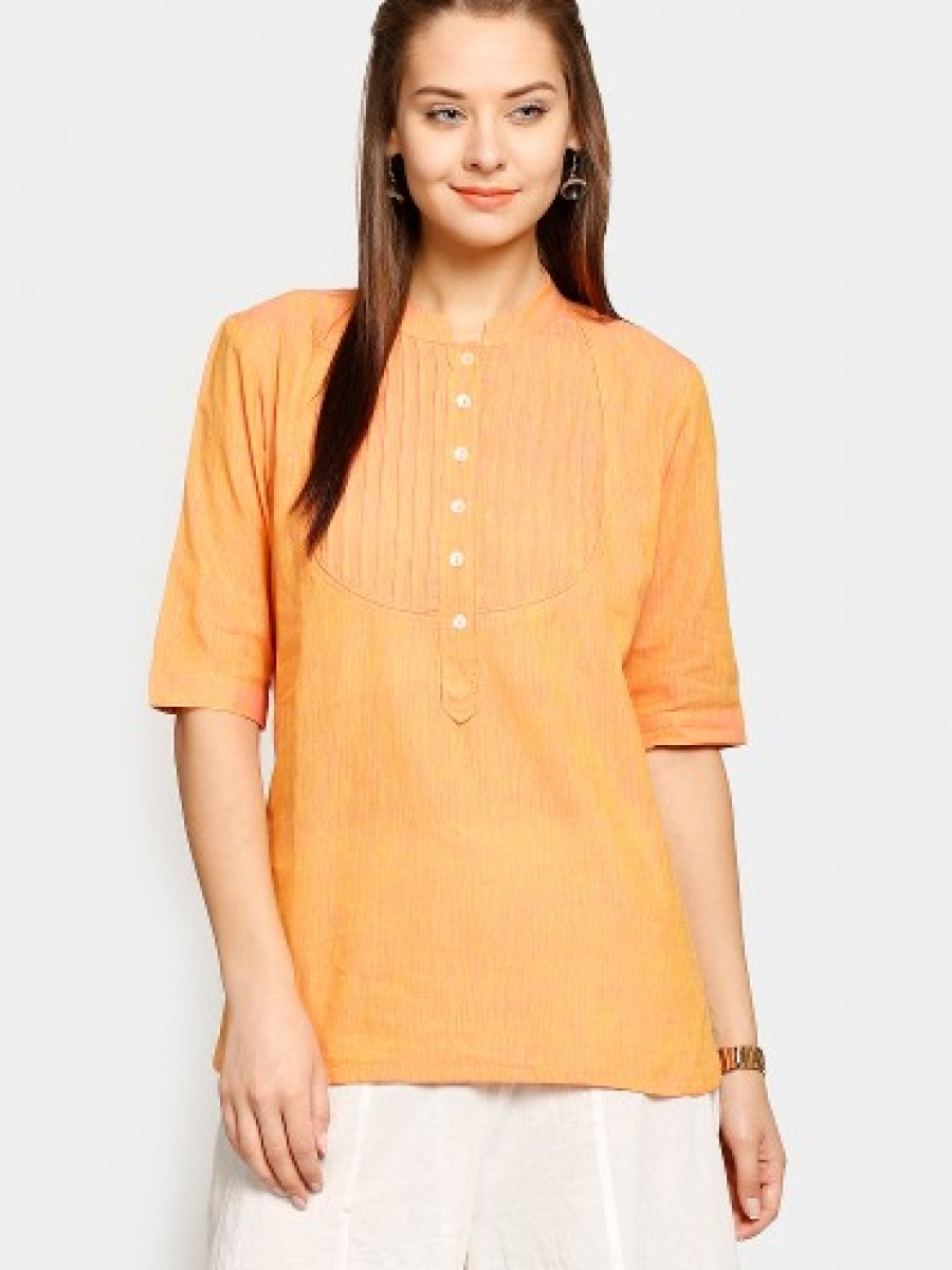 Buy Fabindia Women Orange Regular Fit Kurti Online