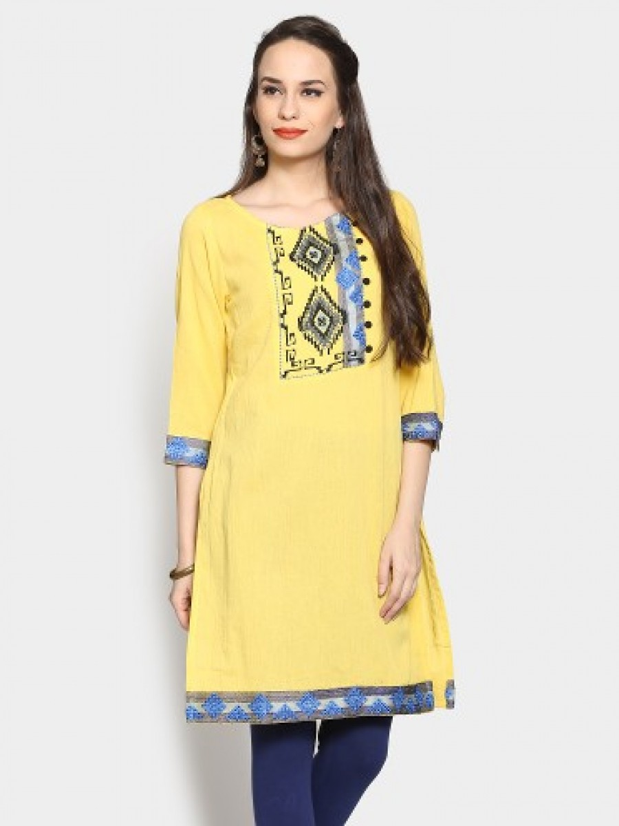 Buy Rain and Rainbow Women Yellow Regular Fit Kurti Online