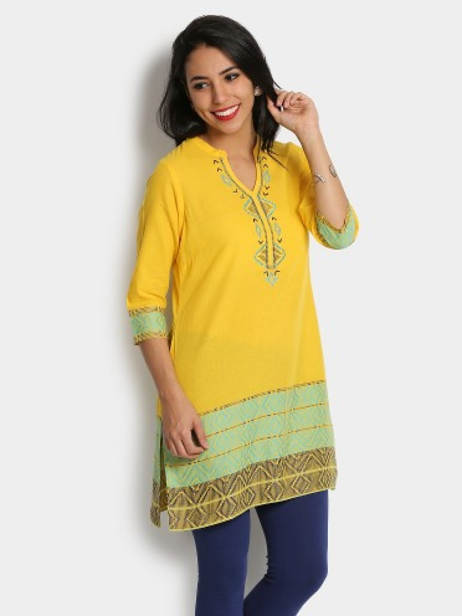 Buy Aurelia Women Yellow Regular Fit Kurti Online