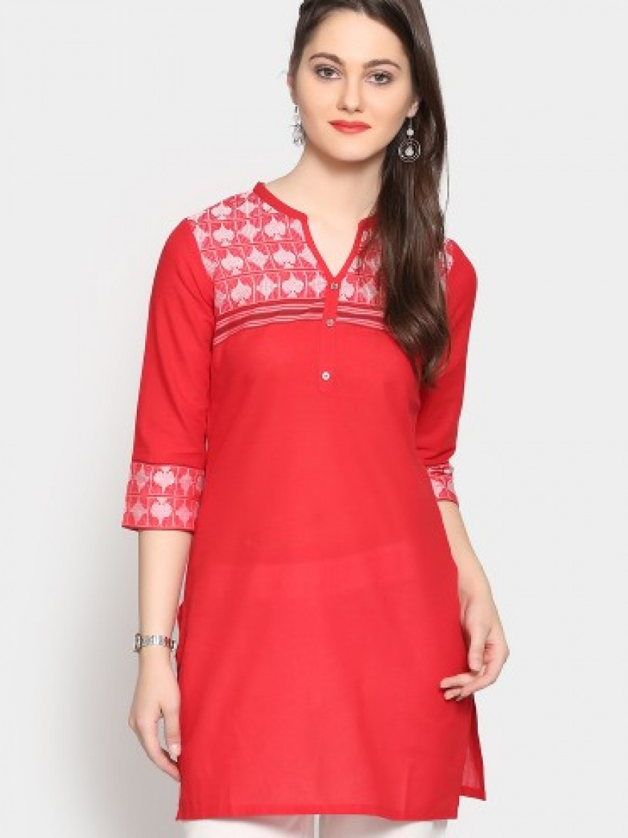 Buy Aurelia Women Red Regular Fit Kurti Online