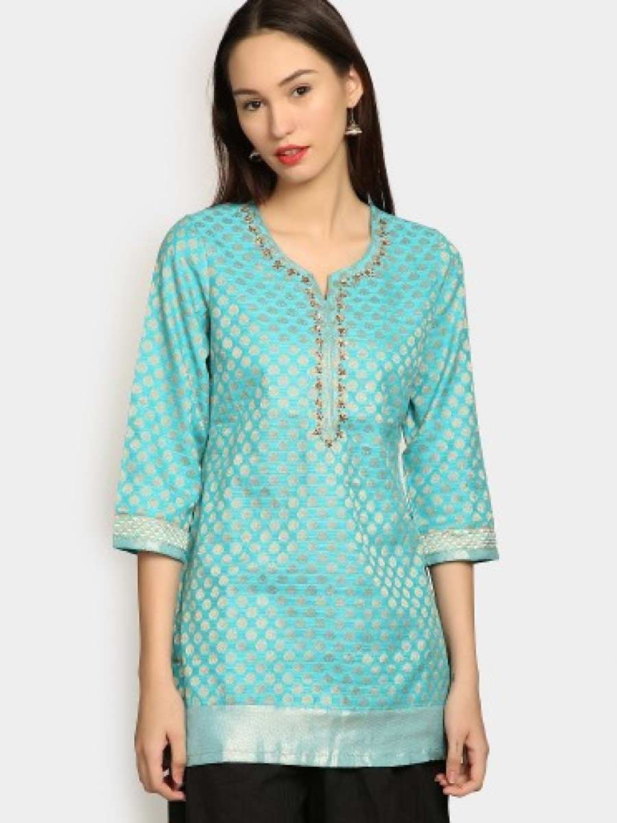 Buy Biba Women Turquoise Blue Silk Blend Printed Regular Fit Kurti Online