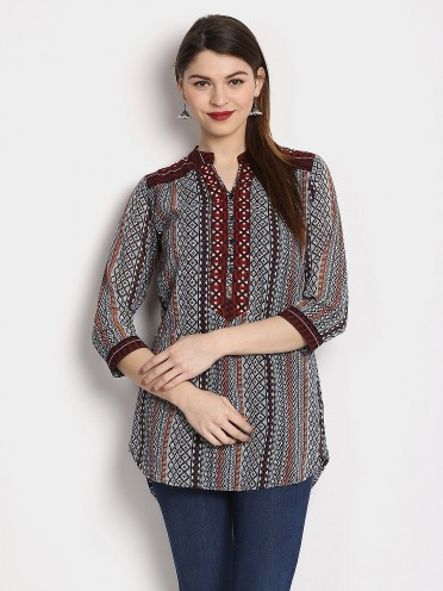 Buy Ayaany Women Grey & Black Printed Slim Fit Kurti Online