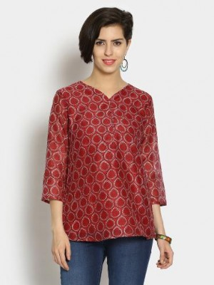 Buy Fabindia Women Red & White Regular Fit Kurti Online