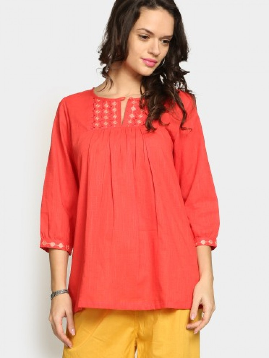 Buy Fabindia Women Coral Red Embroidered Regular Fit Kurti Online
