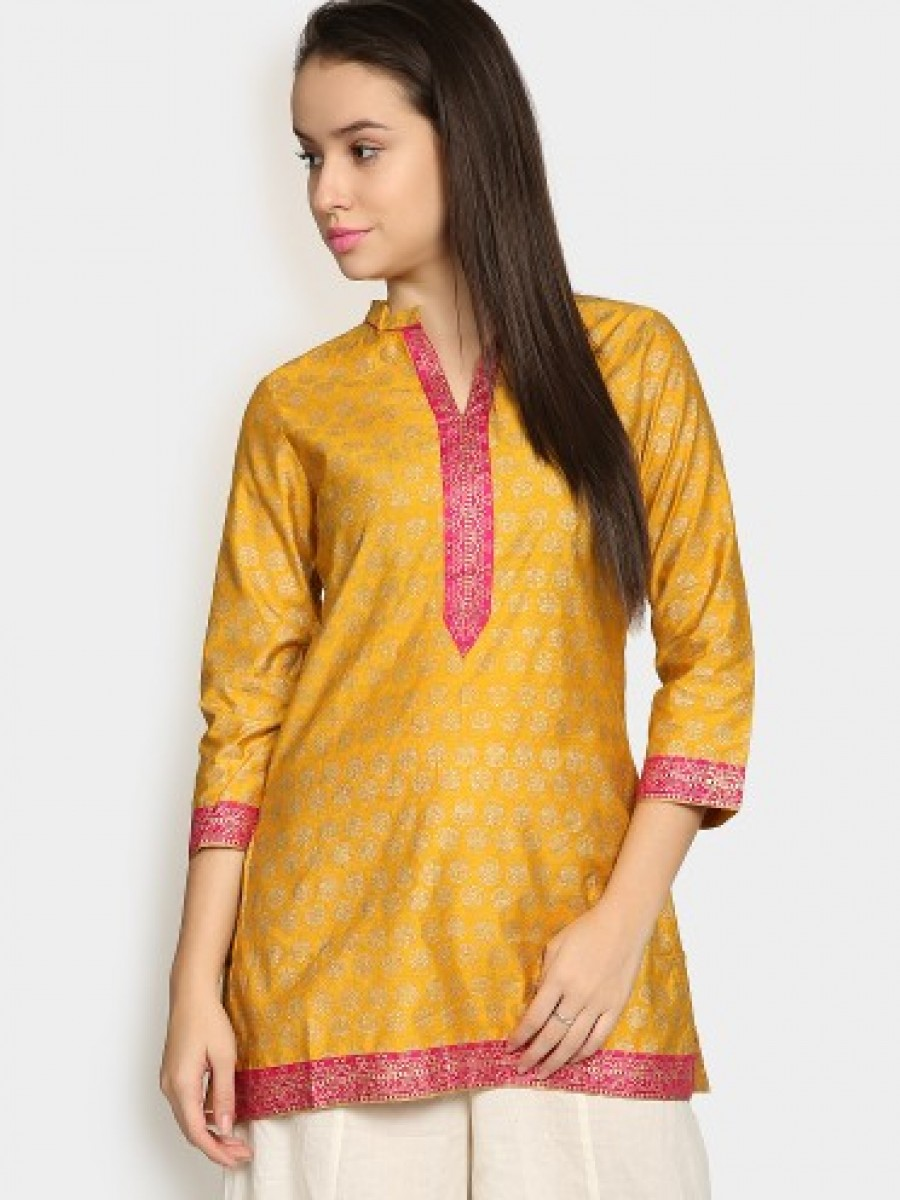 Buy Biba Women Mustard Yellow & Gold-toned Silk Blend Printed Regular Fit Kurti Online