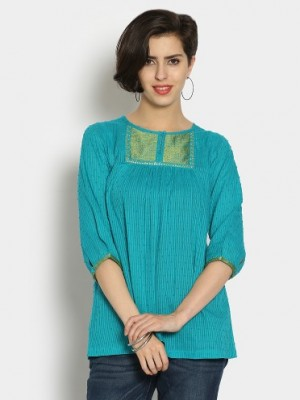 Buy Fabindia Women Turquoise Blue Regular Fit Kurti Online