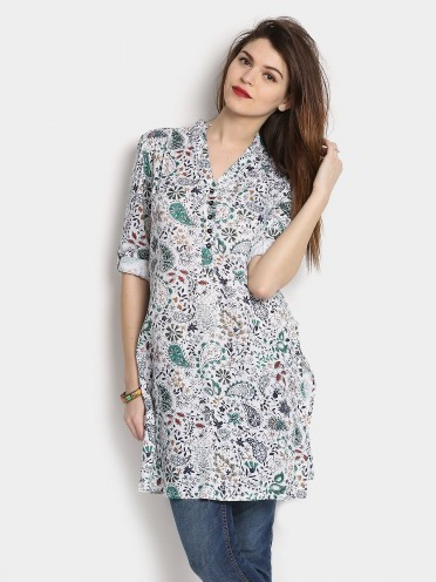 Buy Ayaany Women White Printed Regular Fit Kurti Online