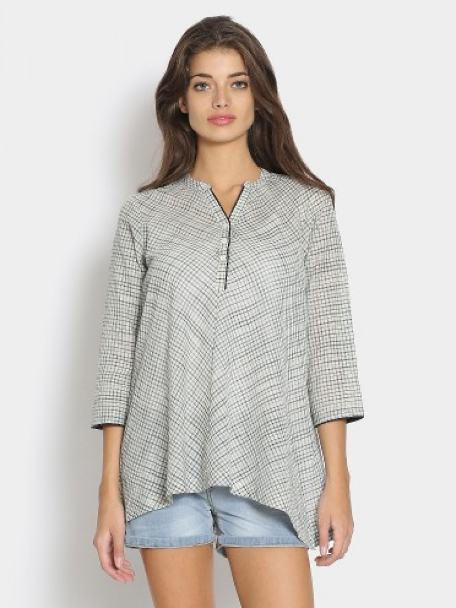 Buy Fabindia Women Navy & Off-white Checkered Regular Fit Kurti Online