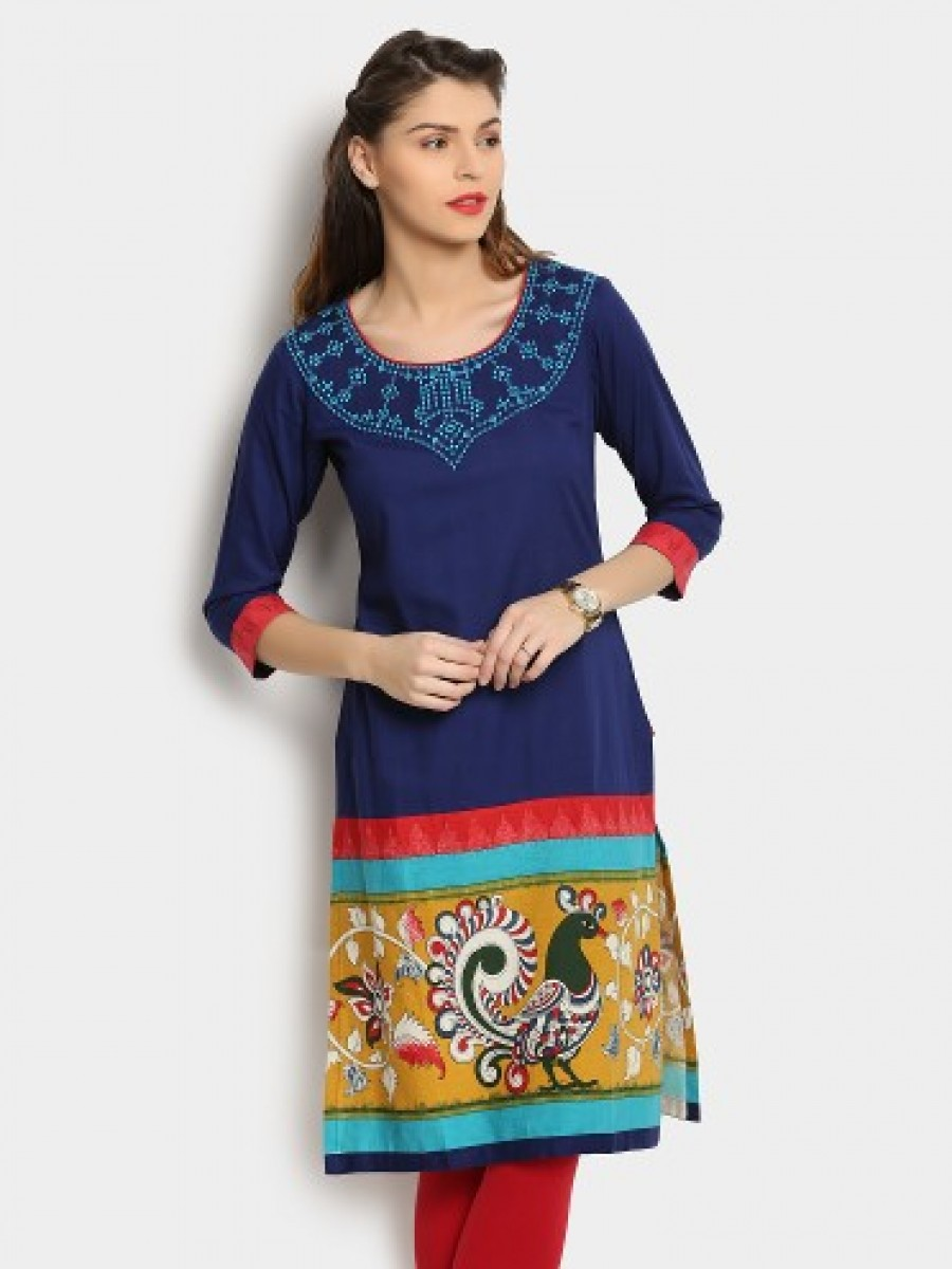 Buy Span Women Blue Printed Regular Fit Kurti Online
