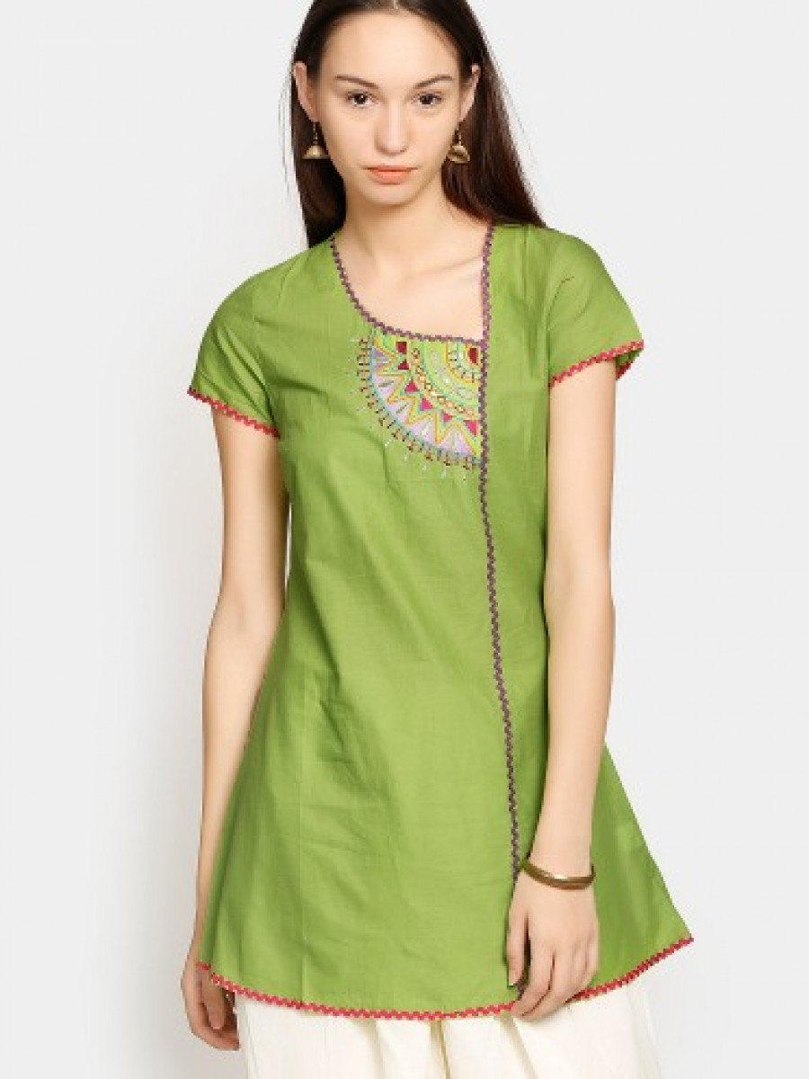 Buy Aurelia Women Green Embroidered A-line Kurti Online