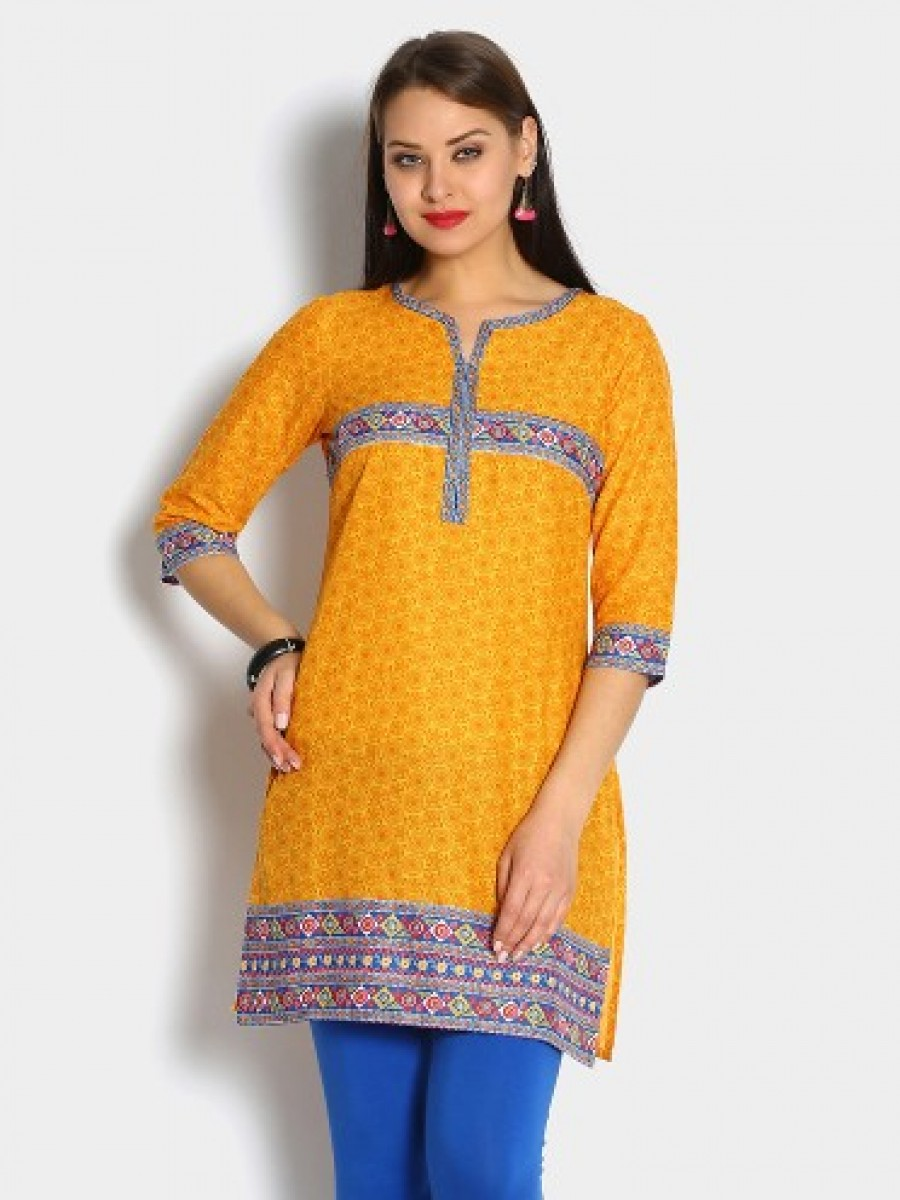 Buy Aurelia Women Yellow Printed Regular Fit Kurti Online