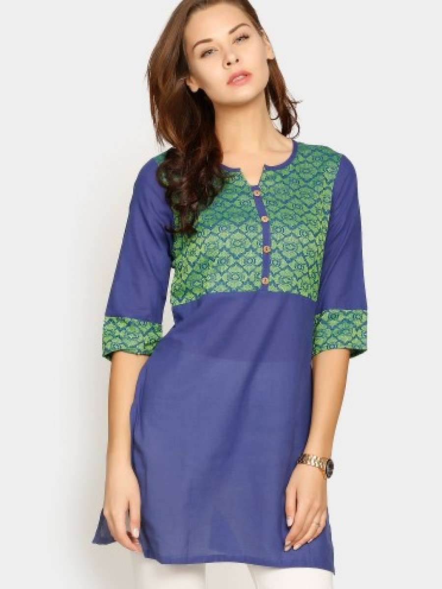 Buy Aurelia Women Blue & Green Regular Fit Kurti Online